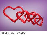 Купить «Composite image of linking hearts», фото № 30109297, снято 21 января 2015 г. (c) Wavebreak Media / Фотобанк Лори