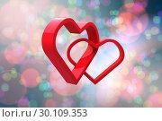 Купить «Composite image of linking hearts», фото № 30109353, снято 21 января 2015 г. (c) Wavebreak Media / Фотобанк Лори