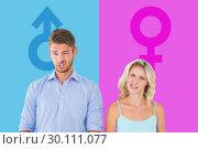 Купить «Composite image of young couple making silly faces», фото № 30111077, снято 23 января 2015 г. (c) Wavebreak Media / Фотобанк Лори