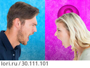 Купить «Composite image of angry couple shouting during argument», фото № 30111101, снято 23 января 2015 г. (c) Wavebreak Media / Фотобанк Лори