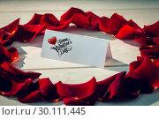 Купить «Composite image of cute valentines message», фото № 30111445, снято 23 января 2015 г. (c) Wavebreak Media / Фотобанк Лори