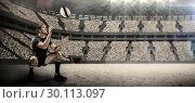Купить «Composite image of full length of rugby player catching the ball», фото № 30113097, снято 17 сентября 2015 г. (c) Wavebreak Media / Фотобанк Лори