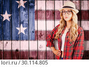 Купить «Composite image of gorgeous blonde hipster with hand on hips», фото № 30114805, снято 5 февраля 2016 г. (c) Wavebreak Media / Фотобанк Лори