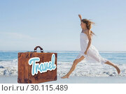 Composite image of beautiful blonde in white sundress jumping up on the beach. Стоковое фото, агентство Wavebreak Media / Фотобанк Лори