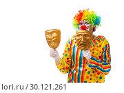 Купить «Male clown isolated on white», фото № 30121261, снято 28 сентября 2018 г. (c) Elnur / Фотобанк Лори