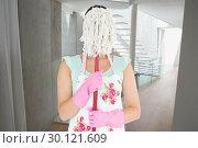 Купить «Composite image of woman hiding her face with a mop», фото № 30121609, снято 15 сентября 2016 г. (c) Wavebreak Media / Фотобанк Лори