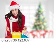 Купить «Woman with christmas presents», фото № 30122037, снято 23 ноября 2016 г. (c) Wavebreak Media / Фотобанк Лори
