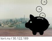 Купить «Piggy bank with money », фото № 30122189, снято 23 ноября 2016 г. (c) Wavebreak Media / Фотобанк Лори