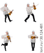 Купить «Young man playing violin isolated on white», фото № 30124481, снято 21 марта 2019 г. (c) Elnur / Фотобанк Лори