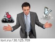Купить «Digital composite image of a serious businessman with angel and demon», фото № 30125709, снято 16 декабря 2016 г. (c) Wavebreak Media / Фотобанк Лори