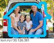 Купить «Family sitting in the back of the van against house outline in background», фото № 30126381, снято 23 декабря 2016 г. (c) Wavebreak Media / Фотобанк Лори