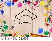 Купить «Convocation hat drawn on wooden plank with coloring tools», фото № 30131609, снято 25 января 2017 г. (c) Wavebreak Media / Фотобанк Лори