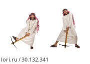 Купить «Arab man with ice axe isolated on white», фото № 30132341, снято 13 июня 2015 г. (c) Elnur / Фотобанк Лори