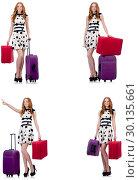 Купить «Beautiful woman in polka dot dress with suitcases isolated on wh», фото № 30135661, снято 22 апреля 2019 г. (c) Elnur / Фотобанк Лори