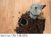 Купить «Coffee with coffeemaker and scoop», фото № 30138053, снято 6 октября 2016 г. (c) Wavebreak Media / Фотобанк Лори