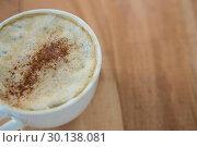 Купить «Coffee served in white cup», фото № 30138081, снято 6 октября 2016 г. (c) Wavebreak Media / Фотобанк Лори
