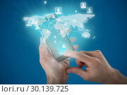 Composite image of close-up of cropped hands holding mobile phone. Стоковое фото, агентство Wavebreak Media / Фотобанк Лори