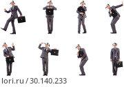 Купить «Funny clown businessman with briefcase», фото № 30140233, снято 25 марта 2019 г. (c) Elnur / Фотобанк Лори