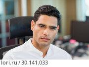 Купить «Portrait of serious business executive sitting on chair», фото № 30141033, снято 26 ноября 2016 г. (c) Wavebreak Media / Фотобанк Лори