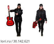 Купить «Young guitar player isolated on the white», фото № 30142621, снято 17 марта 2015 г. (c) Elnur / Фотобанк Лори