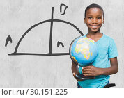 Купить «Boy holding world globe with math equations background», фото № 30151225, снято 24 июля 2017 г. (c) Wavebreak Media / Фотобанк Лори