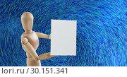Купить «Wooden mannequin holding a blank card against blue colour lines background», фото № 30151341, снято 24 июля 2017 г. (c) Wavebreak Media / Фотобанк Лори