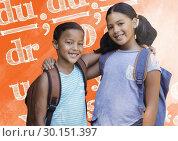 Купить «Schoolgirl and schoolboy close together holding each other in front of letters», фото № 30151397, снято 24 июля 2017 г. (c) Wavebreak Media / Фотобанк Лори