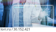 Купить «Composite image of midsection of female doctor using digital screen», фото № 30152421, снято 9 августа 2017 г. (c) Wavebreak Media / Фотобанк Лори