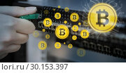 Купить «Composite image of symbol of bitcoin digital cryptocurrency», фото № 30153397, снято 21 ноября 2017 г. (c) Wavebreak Media / Фотобанк Лори