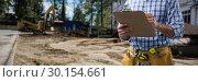 Купить «Composite image of mid-section of construction worker», фото № 30154661, снято 23 апреля 2018 г. (c) Wavebreak Media / Фотобанк Лори