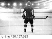Купить «Composite image of rear view of hockey player at ice rink», фото № 30157685, снято 15 ноября 2018 г. (c) Wavebreak Media / Фотобанк Лори