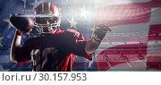 Купить «Composite image of american football player standing with helmet preparing to throw ball», фото № 30157953, снято 18 декабря 2018 г. (c) Wavebreak Media / Фотобанк Лори