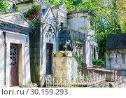 Купить «A view of the Pere Lachaise, the most famous cemetery of Paris, France, with the tombs of very famous people», фото № 30159293, снято 9 сентября 2018 г. (c) Николай Коржов / Фотобанк Лори