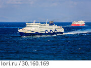 Купить «Ferries, Seajets, Fast Ferries, Rafina, Greece, Europe», фото № 30160169, снято 17 сентября 2018 г. (c) Caro Photoagency / Фотобанк Лори