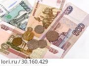 Купить «Российские купюры и монеты», эксклюзивное фото № 30160429, снято 19 февраля 2019 г. (c) Юрий Морозов / Фотобанк Лори