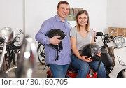 Купить «Portrait couple who is standing satisfied», фото № 30160705, снято 8 мая 2018 г. (c) Яков Филимонов / Фотобанк Лори