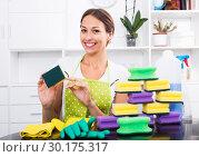 Woman sitting with cleaning sponges. Стоковое фото, фотограф Яков Филимонов / Фотобанк Лори