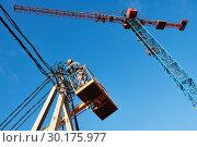 Купить «power electrician lineman at work on pole», фото № 30175977, снято 15 октября 2018 г. (c) Дмитрий Калиновский / Фотобанк Лори