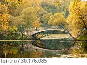 Мостик через речку Чермянку, осень. Стоковое фото, фотограф Давид Мзареулян / Фотобанк Лори