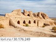 Купить «Ruins of the Toprak-Kala fortress of ancient Khorezm in Kyzylkum desert, Uzbekistan», фото № 30176249, снято 21 октября 2016 г. (c) Юлия Бабкина / Фотобанк Лори