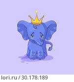 Купить «Elephant calf sad and frustrated sticker emoticon», иллюстрация № 30178189 (c) Maryna Bolsunova / Фотобанк Лори