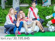 Russia Samara May 2018: a beautiful girl graduate of the school on the last call. Редакционное фото, фотограф Акиньшин Владимир / Фотобанк Лори