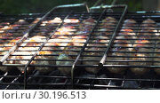 Купить «Close-up - Tasty Meat Sausages Are Baked On The Grill», видеоролик № 30196513, снято 2 октября 2018 г. (c) Pavel Biryukov / Фотобанк Лори