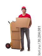 Купить «Young male courier with box», фото № 30204081, снято 9 ноября 2018 г. (c) Elnur / Фотобанк Лори