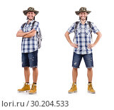 Young traveler with rucksack isolated on white. Стоковое фото, фотограф Elnur / Фотобанк Лори
