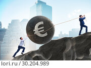 Купить «Trader trading in euro currency», фото № 30204989, снято 21 июля 2019 г. (c) Elnur / Фотобанк Лори