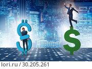 Купить «Businessman in dollar and debt concept», фото № 30205261, снято 18 марта 2019 г. (c) Elnur / Фотобанк Лори