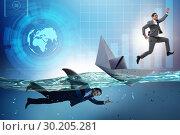 Купить «Businessmen in competition concept with shark», фото № 30205281, снято 20 апреля 2019 г. (c) Elnur / Фотобанк Лори