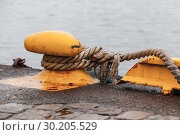 Купить «Yellow bollard with ropes», фото № 30205529, снято 17 ноября 2017 г. (c) EugeneSergeev / Фотобанк Лори