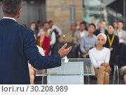 Купить «Businessman speaks at a business seminar », фото № 30208989, снято 21 ноября 2018 г. (c) Wavebreak Media / Фотобанк Лори